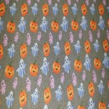 Algodón estampado de Halloween (Fantasmas y Calabazas)