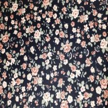 Algodón estampado de Flores con fondo negro